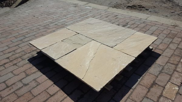 Patio Packs Paving Sunset Buff Dry Calibrated Tumbled Kandla Grey Sandstone