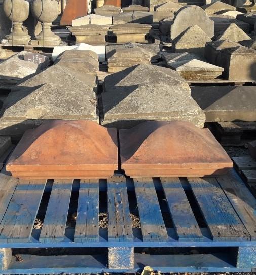 17 inch terracotta four way reclaimed pier caps