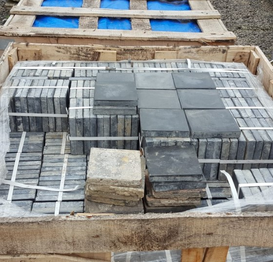 6 inch blue reclaimed quarry tiles