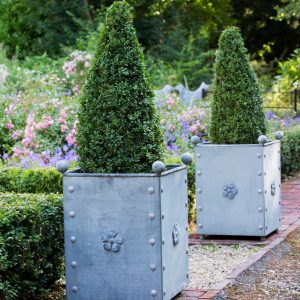 British Metal Zinc Large Tree Planters