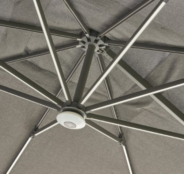 Cantilever Parasol with LED strip lighting