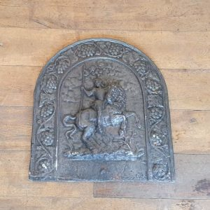 Cast Iron Fireback Horse and Rider Design