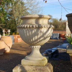 Reclaimed Antique Hand Carved Fluted Limestone Urn