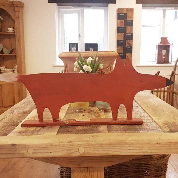 Handmade painted wooden Fox