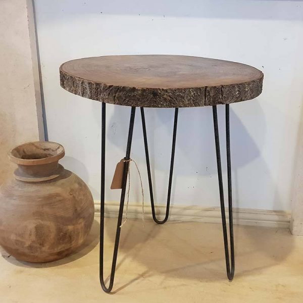 Handmade wooden log table