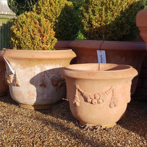 Italian Clay Pot with Swag Design small