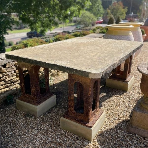 Large Yorkstone Table Top on Cast Iron Legs