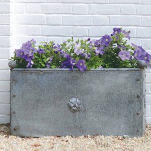 British Metal Zinc Large Trough Planter