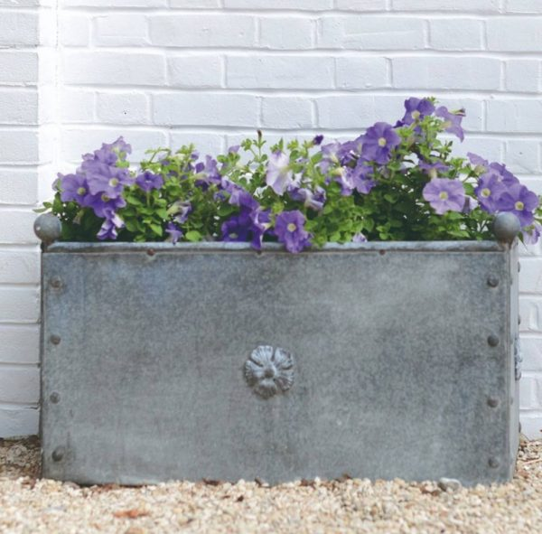 British Metal Zinc Large Trough Planter
