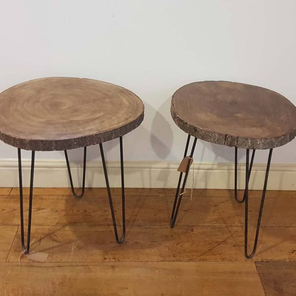 Pair of Wooden Log tables handmade
