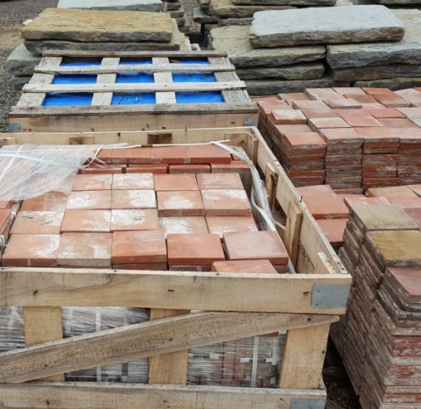 Pallets of reclaimed quarry tiles