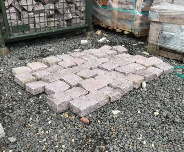 Pink Red Granite Setts laid out