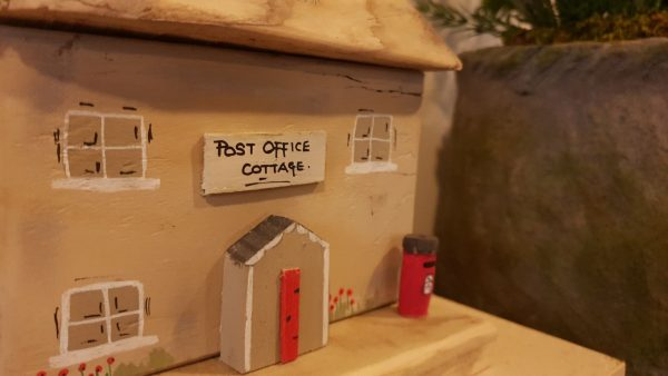 Wooden Post Office Cottage Ornament Handmade