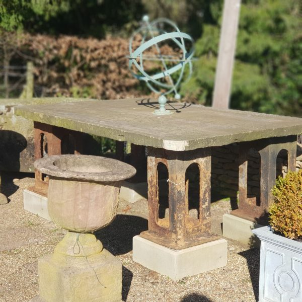 Reclaimed Yorkstone Outdoor Dining Table