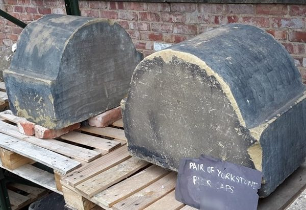 Reclaimed arched yorkstone pier caps