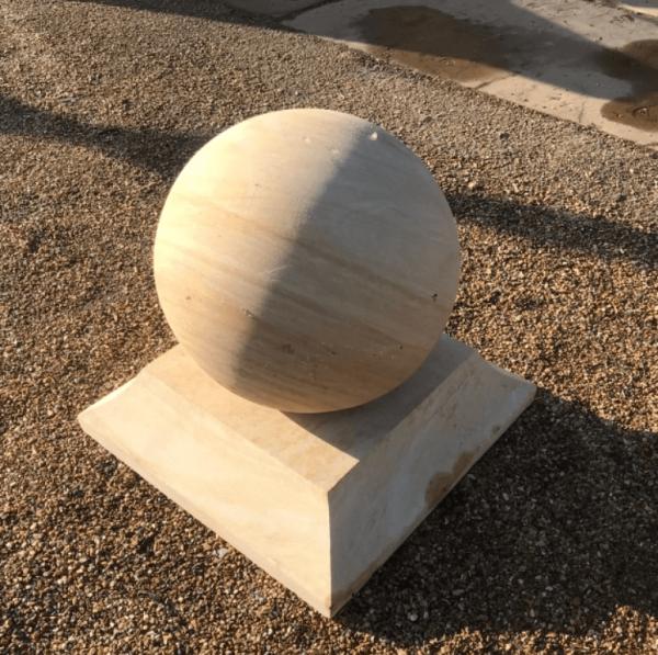 "Teak Sandstone Plinth for 16"" Ball"