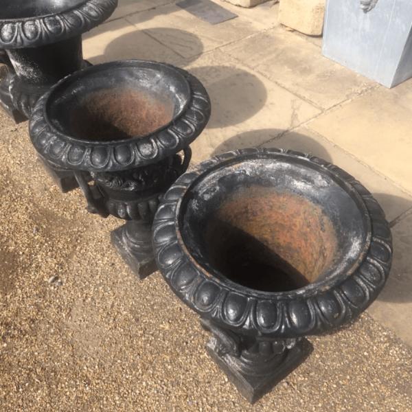 Medium Cast Iron Black Painted Urn