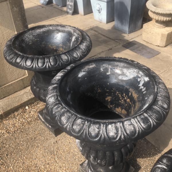 Large Cast Iron Black Painted Urn