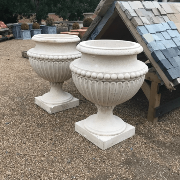 Large Hand Carved Fluted Design Limestone Urn