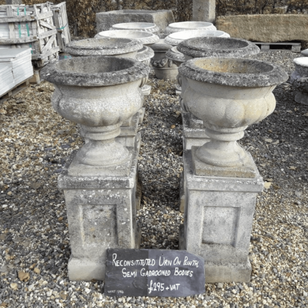 Reconstituted Urn on Plinth Semi Gadrooned Bodies