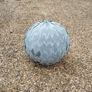 Small Hand Finished Zinc Leaf Ball Feature