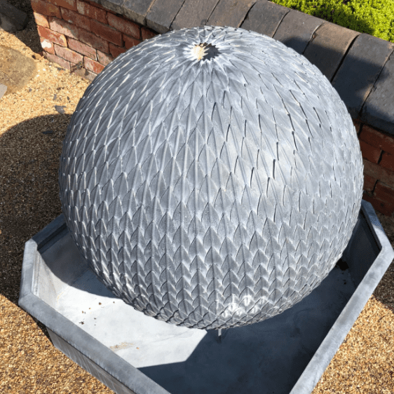 Leaf Ball Water Feature made of Zinc