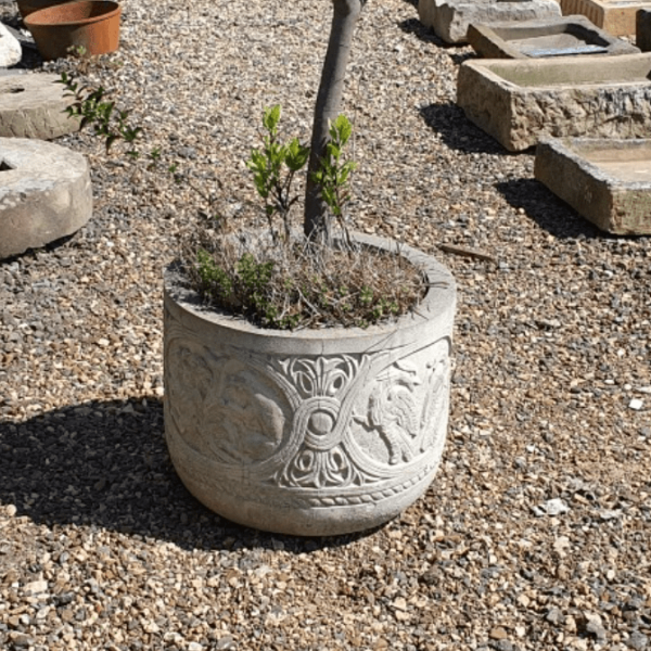 Large Composition Stone Planter Moulded Creature Detail