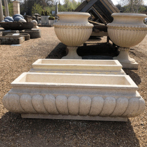 Planter Hand Carved Gadrooned Limestone