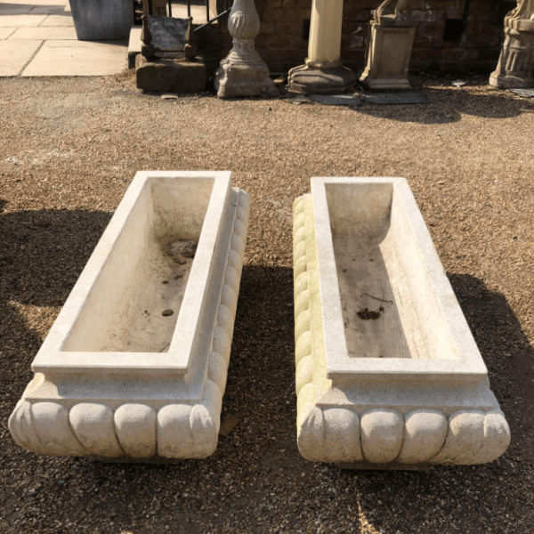 Limestone Gadrooned Planter Hand Carved