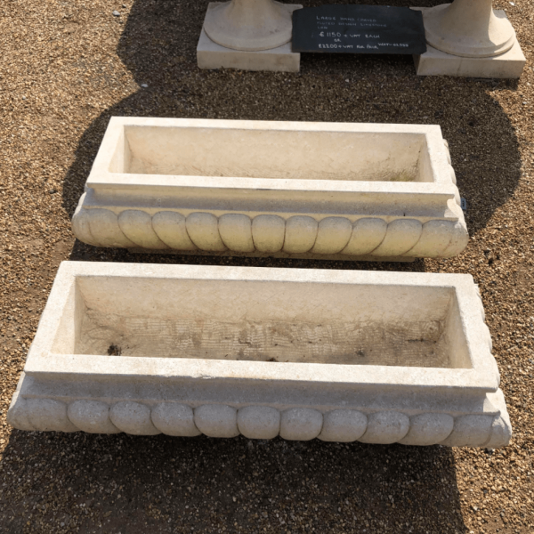 Hand Carved Limestone Gadrooned Planter