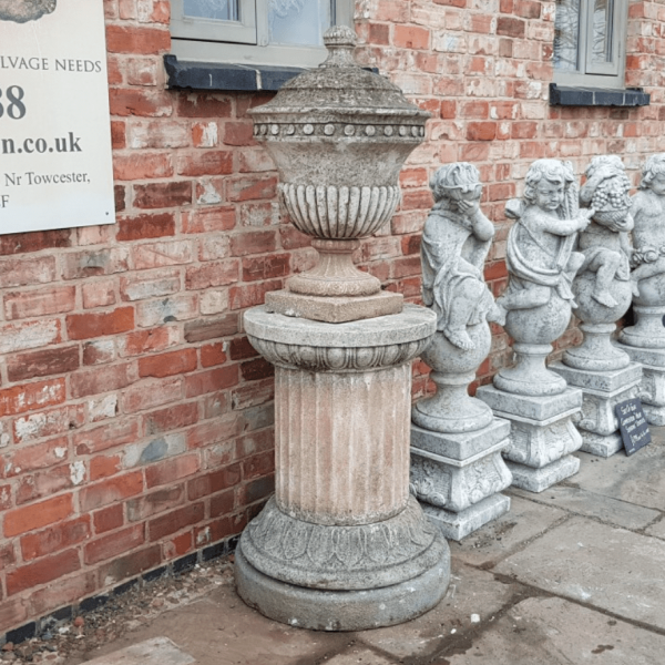 Urn on Plinth Semi Gadrooned Bodies Reconstituted