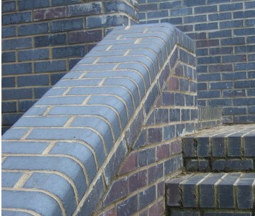 Single Bullnose Brick Blue staircase