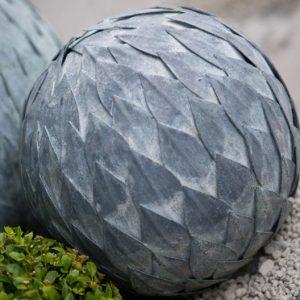 Zinc Leaf Ball Garden Feature