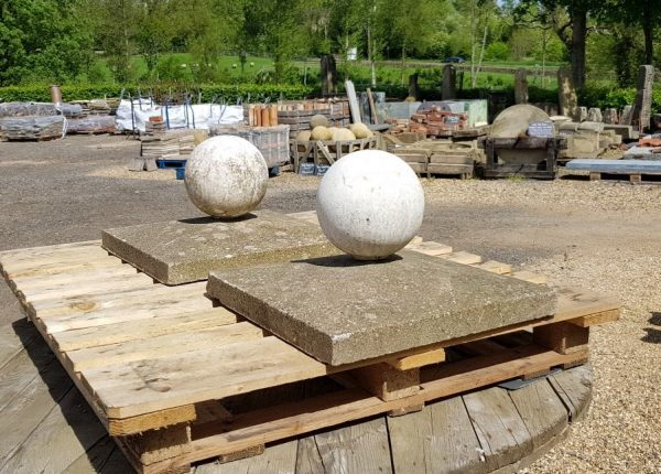 Stone Ball Finial Reclaimed Pier Caps