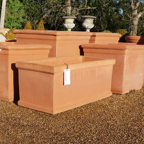 Terracotta trough planter