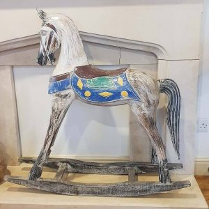 hand painted wooden rocking horse