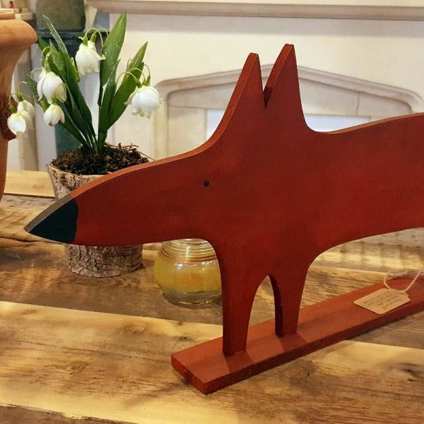 handcarved wooden fox ornament for country home
