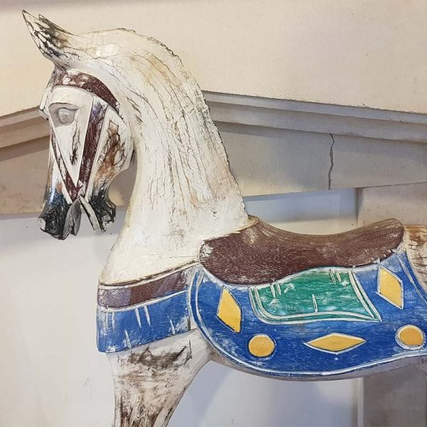 handpainted wooden rocking horse