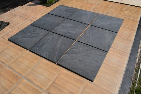 Black Porcelain Paving laid out