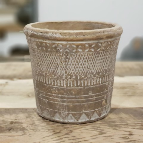 Rustic Patterned Flower Pot Small