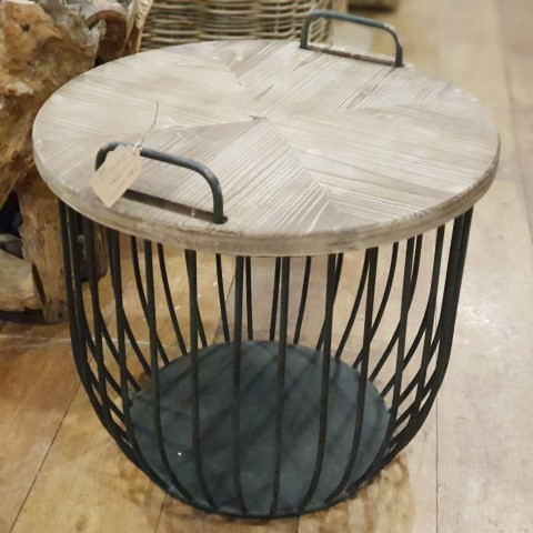 Small Wooden Coffee Side Table with Lid and Storage