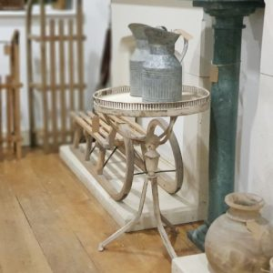 Antique looking cream side table