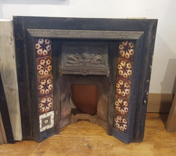 Cast Iron Fireplace Insert with Brown Floral Tiles