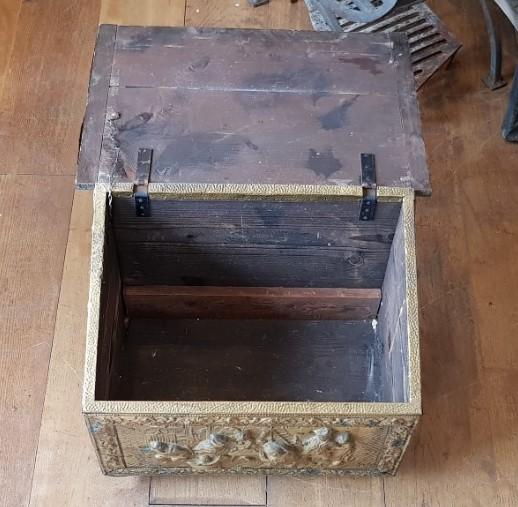 Embossed Brass Reclaimed Coal Box