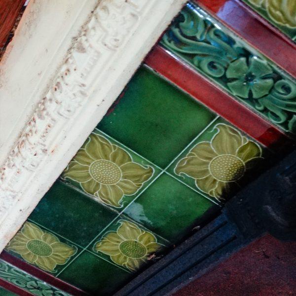 Decorative Green Tiled Cast Iron Fire Insert