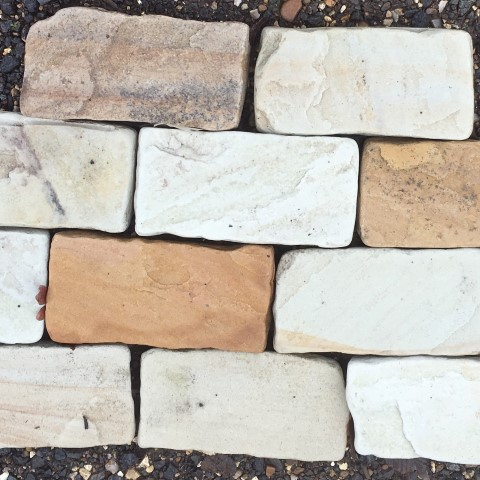 Fossil Mint Tumbled Paving Blocks 100x200x40-60mm