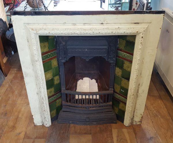 Tiled Cast Iron Fireplace Insert Green Tiles