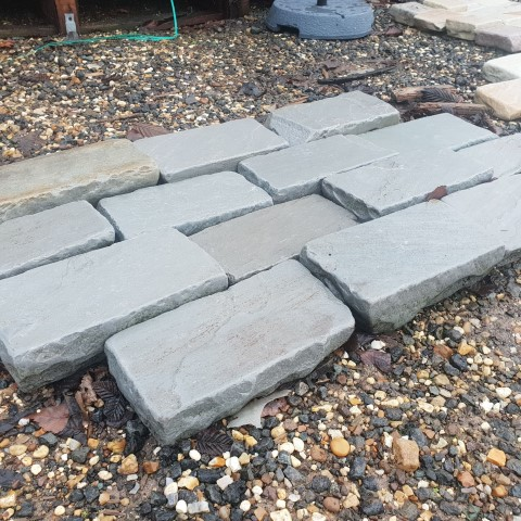 Kandla Grey Sandstone Tumbled Block Paving 100x200x40-60mm