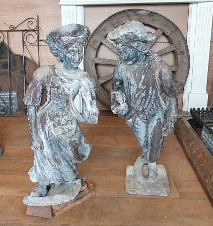Pair of Lead Gentleman and Lady Statues