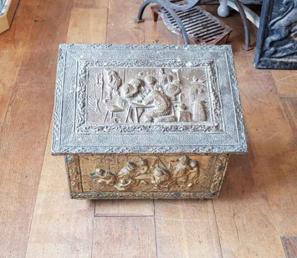 Pine Coal Box with Embossed Brass